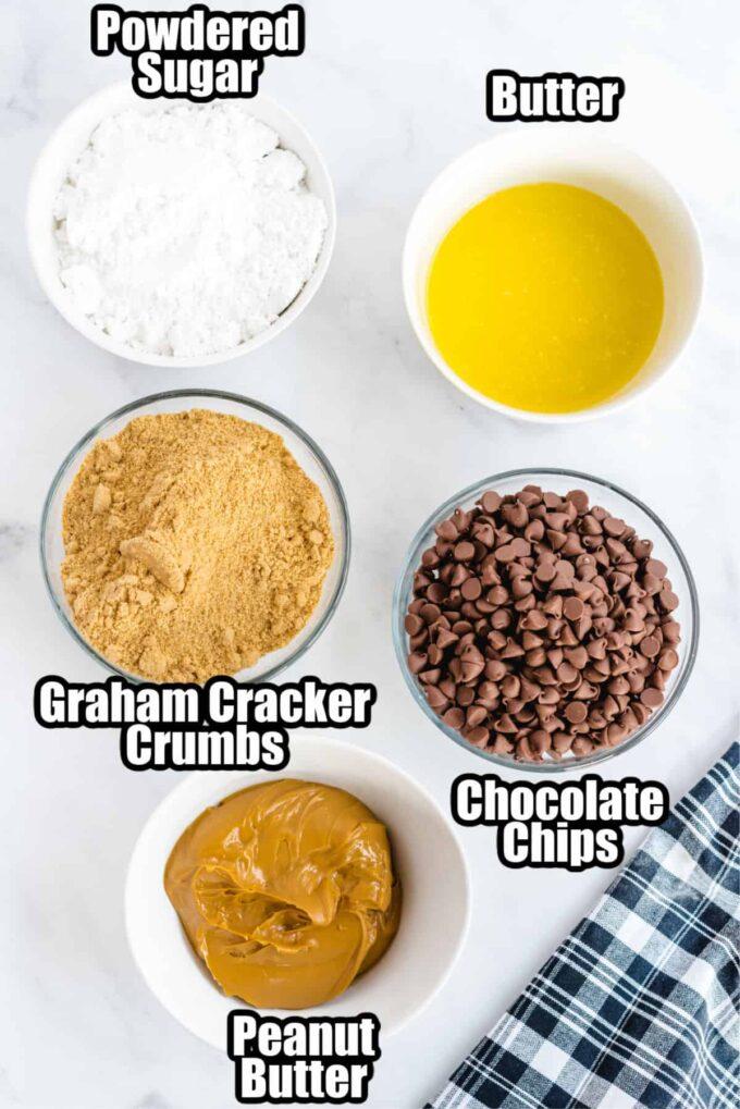 ingredients for no-bake peanut butter bars