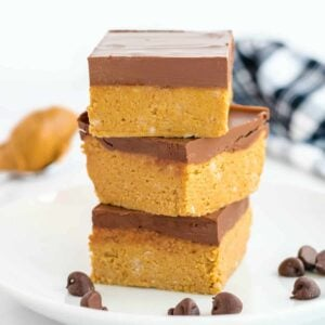 no bake peanut butter bars square featured image