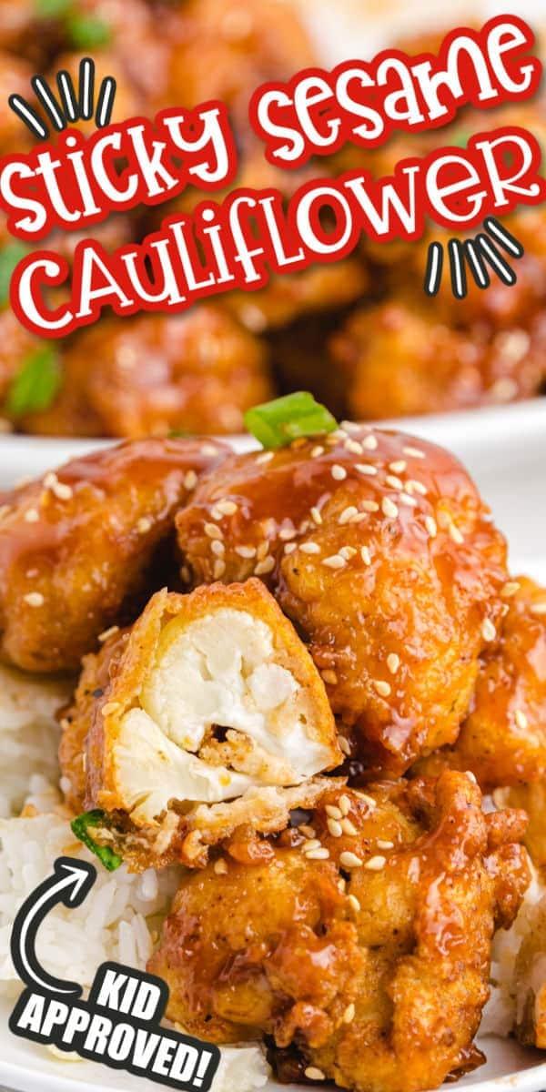 sticky sesame cauliflower pinterest image