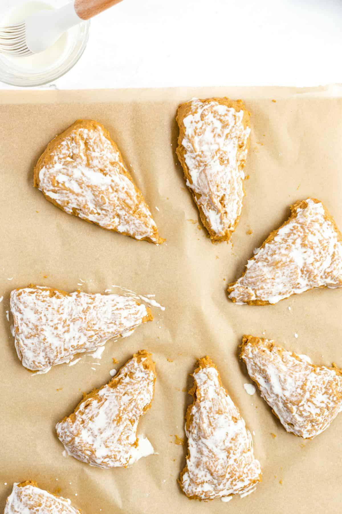 scones brushed with milk