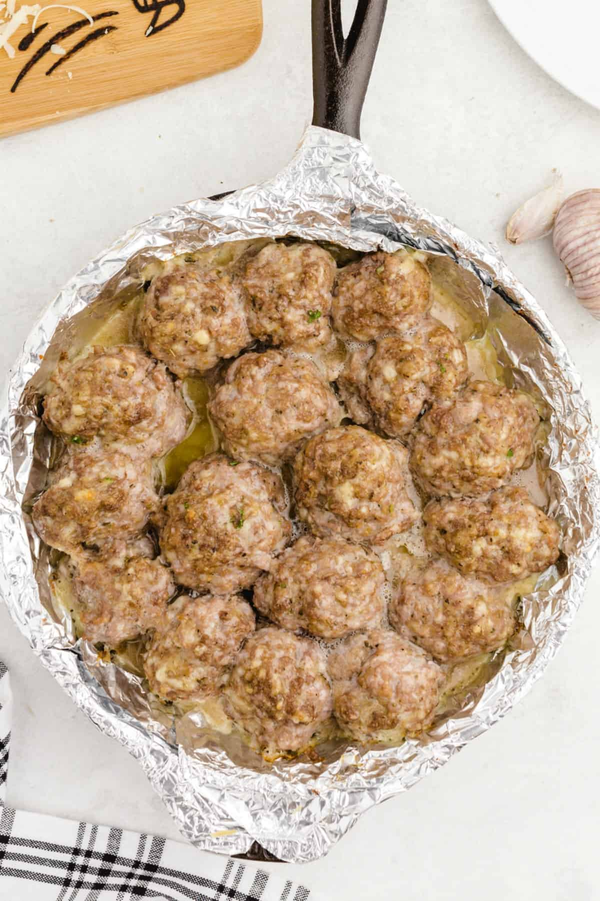 cooked meatballs in a pan