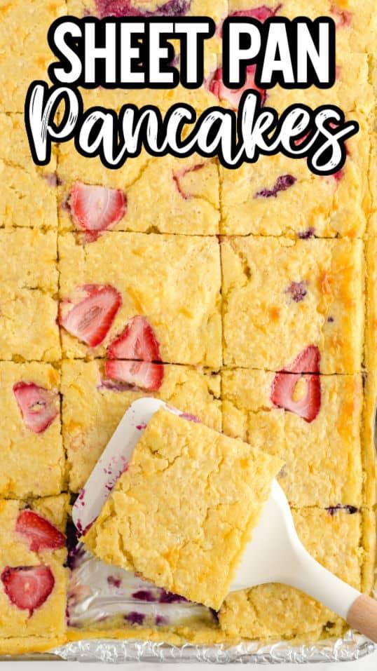 pinterest image - Sheet Pan Pancakes