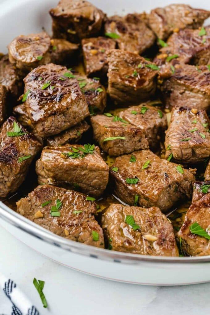 close up of steak cut up in cubes