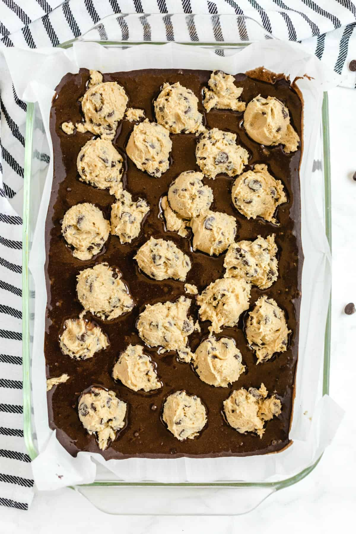 cookie dough in brownie dough