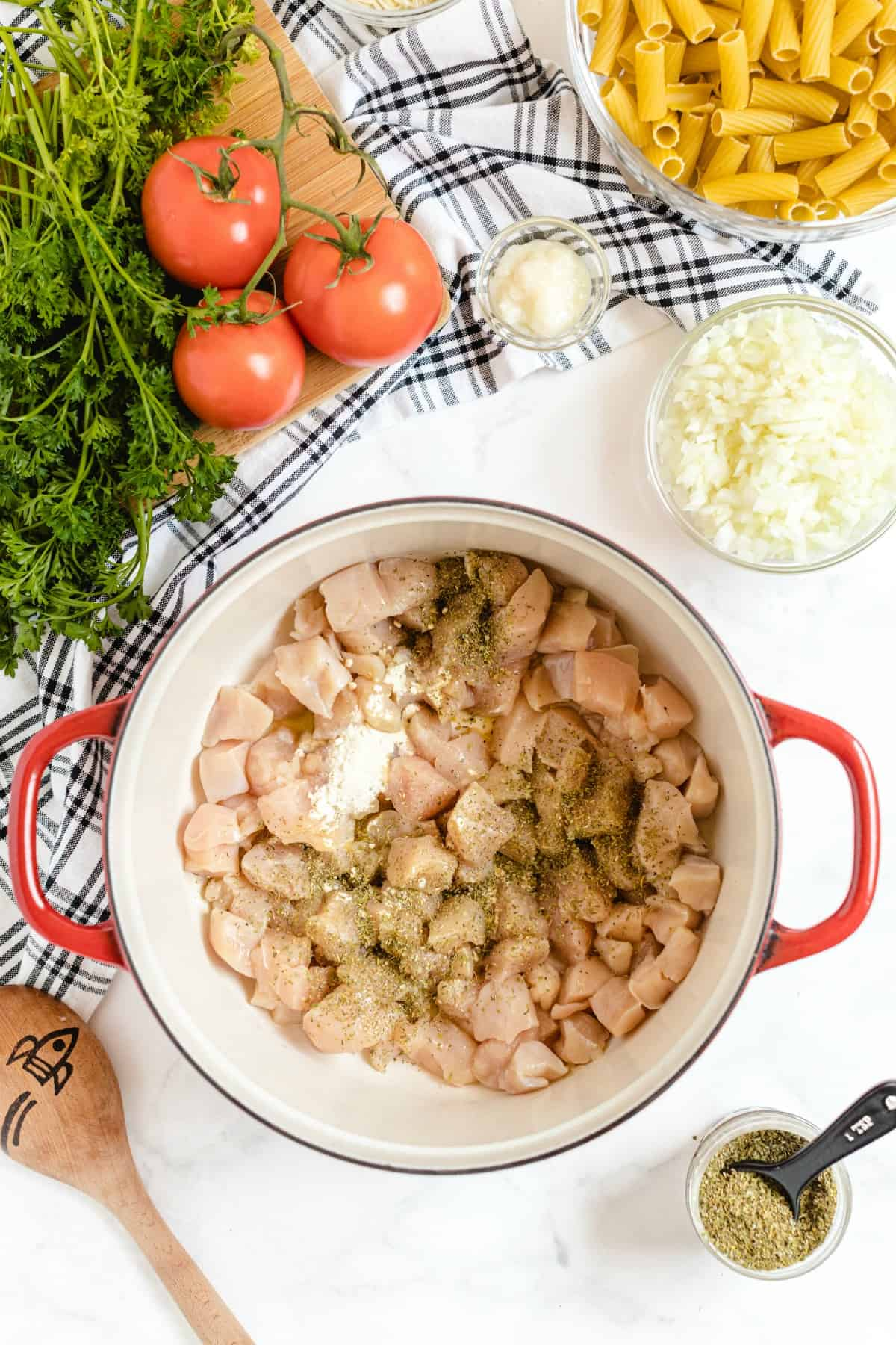raw chicken in dutch oven