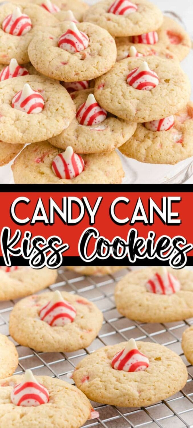 Candy Cane Kiss Cookies Pinterest Image