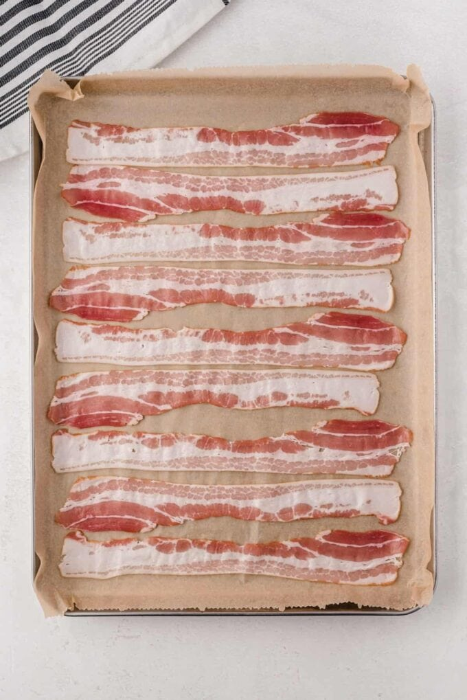 Bacon on a baking sheet