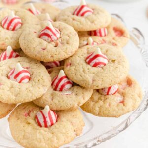 Candy Cane Kiss Cookies square