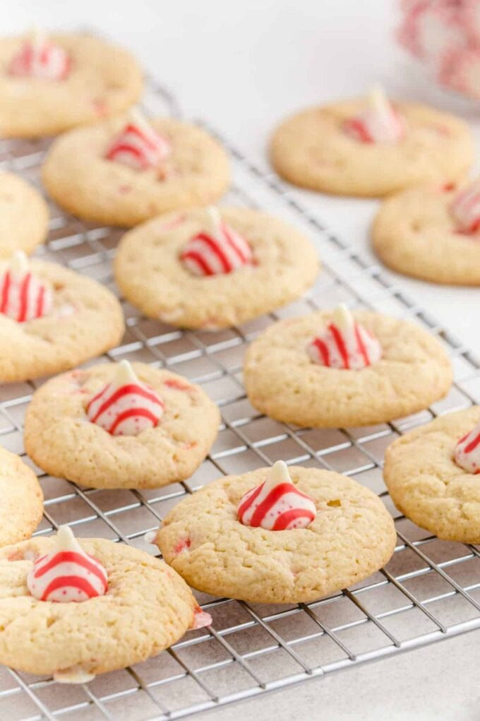 Candy Cane Kiss Cookies wire rack