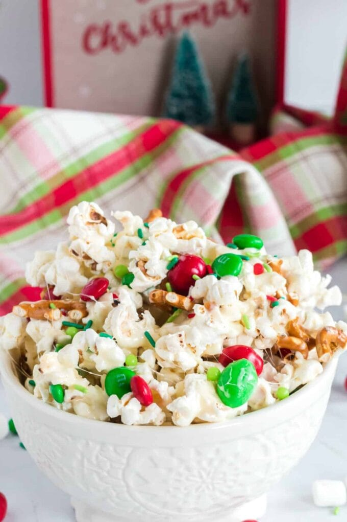 Christmas Crunch featured in a white bowl