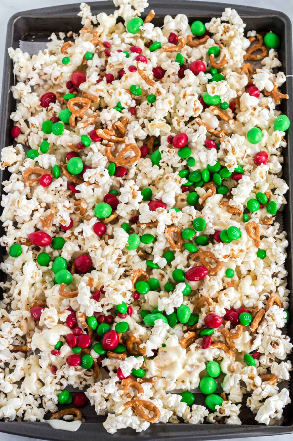 Christmas Crunch on a cookie sheet