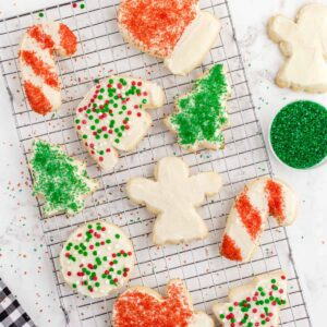Christmas sugar cookies on wire rack