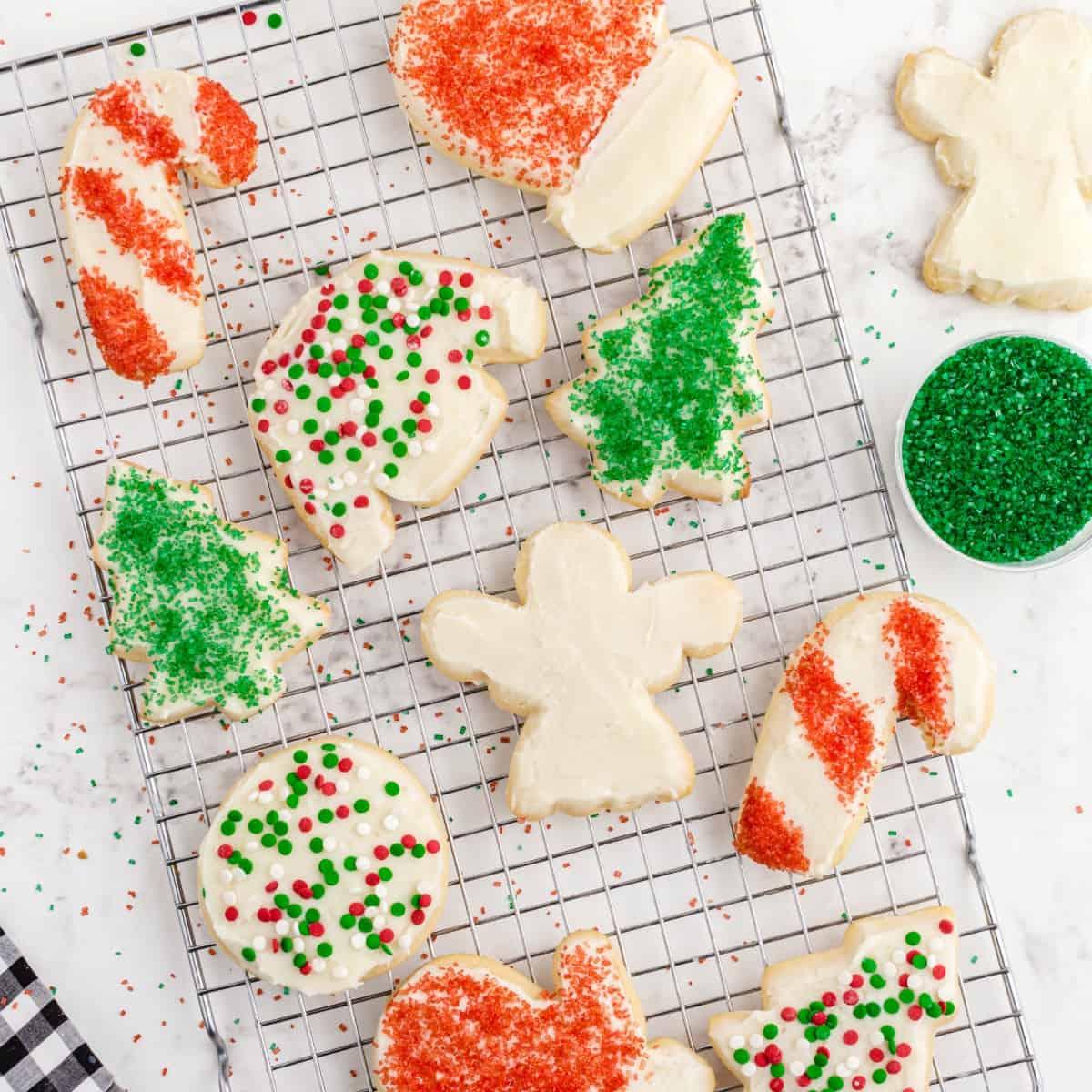 Christmas sugar cookies on wire rack