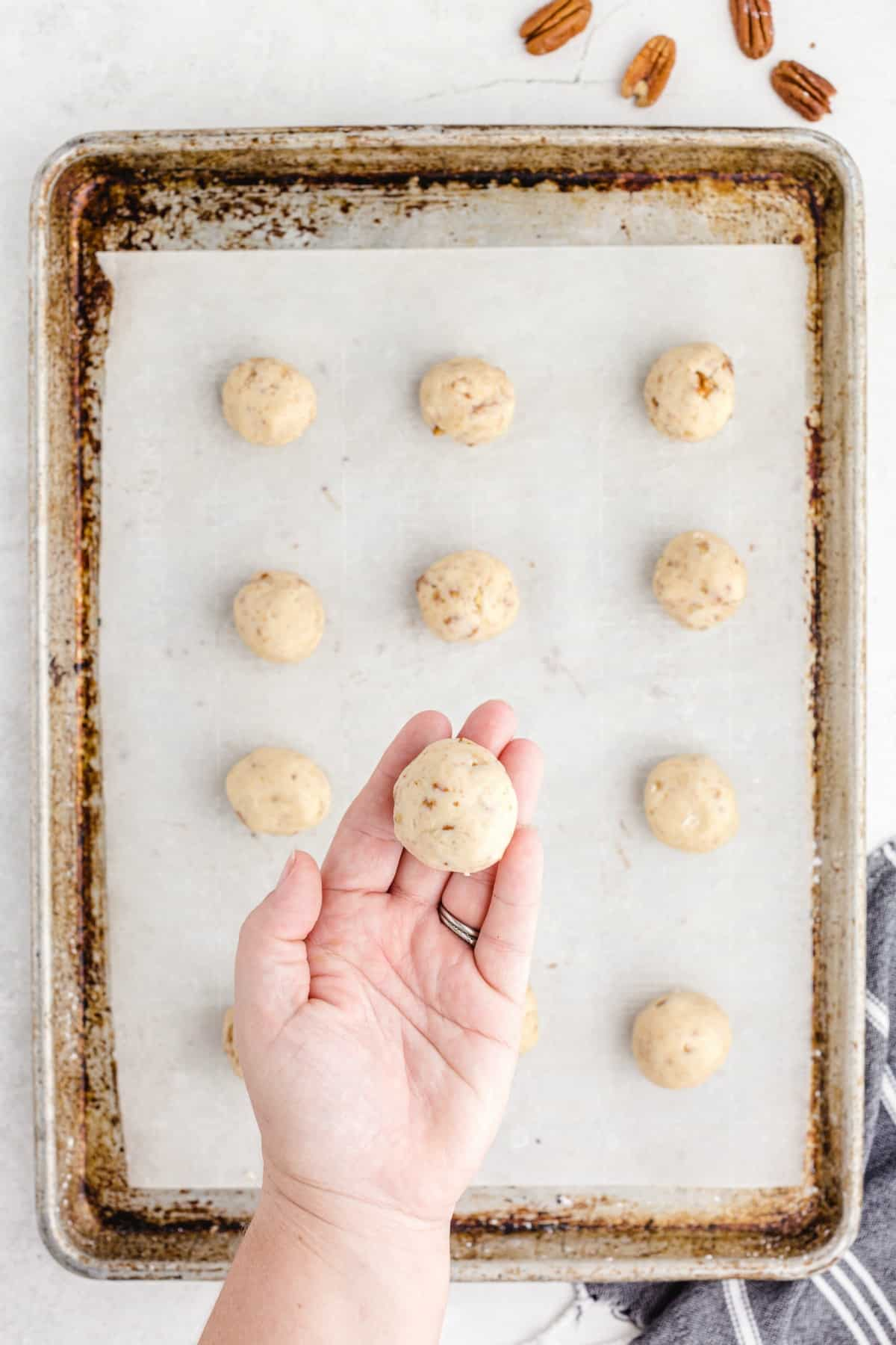 Cookies in a dough ball