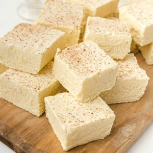Eggnog Fudge on a cutting board