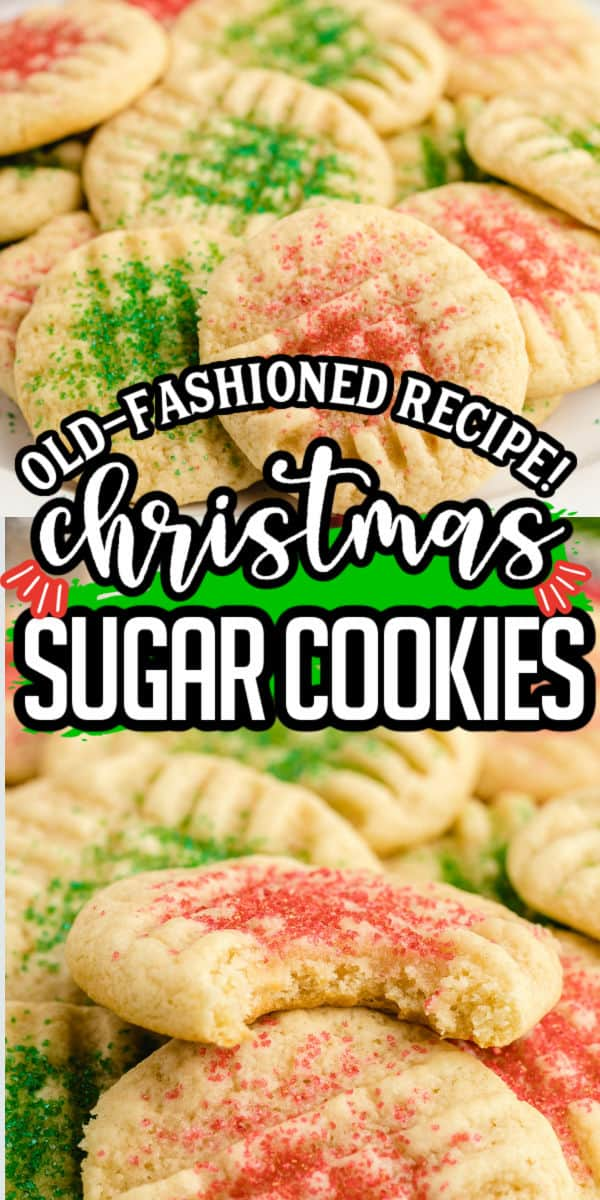 Old Fashioned Christmas Sugar Cookies Pinterest Image copy