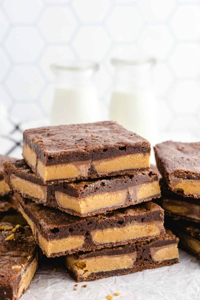 Peanut Butter Cup Brownies stacked
