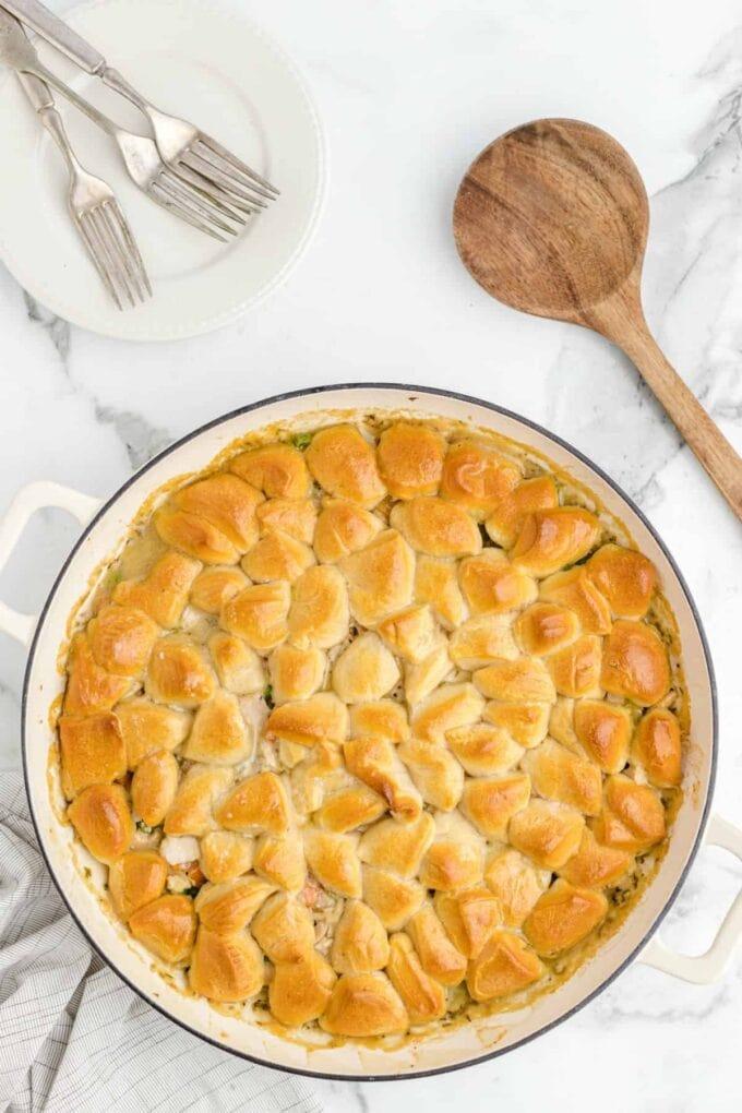 Skillet Chicken Pot Pie baked