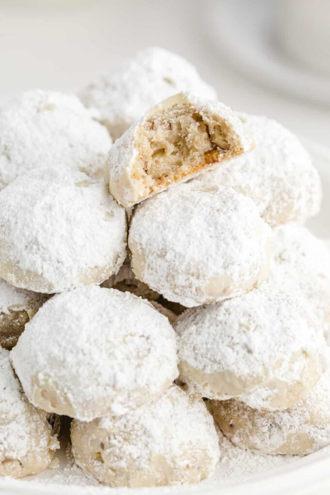 Snowball Cookies with bite