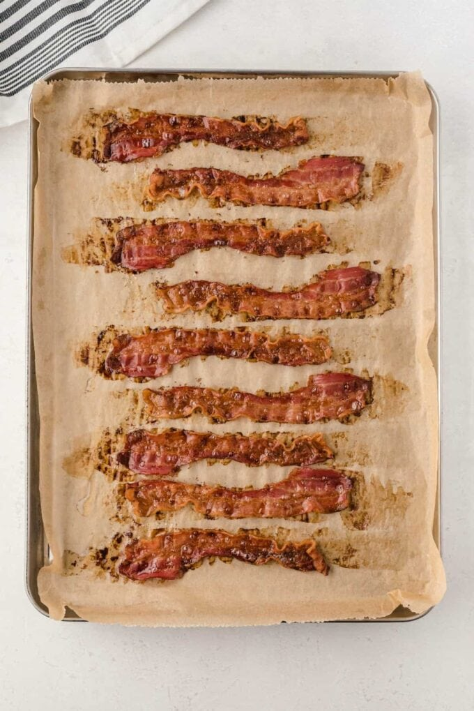baked bacon on a baking sheet