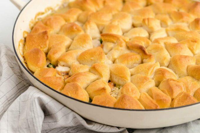 close up of chicken pot pie skillet