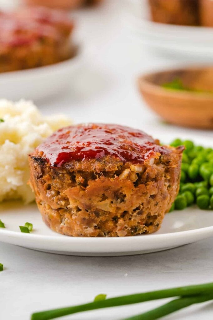 mini meatloaf muffin on a plate