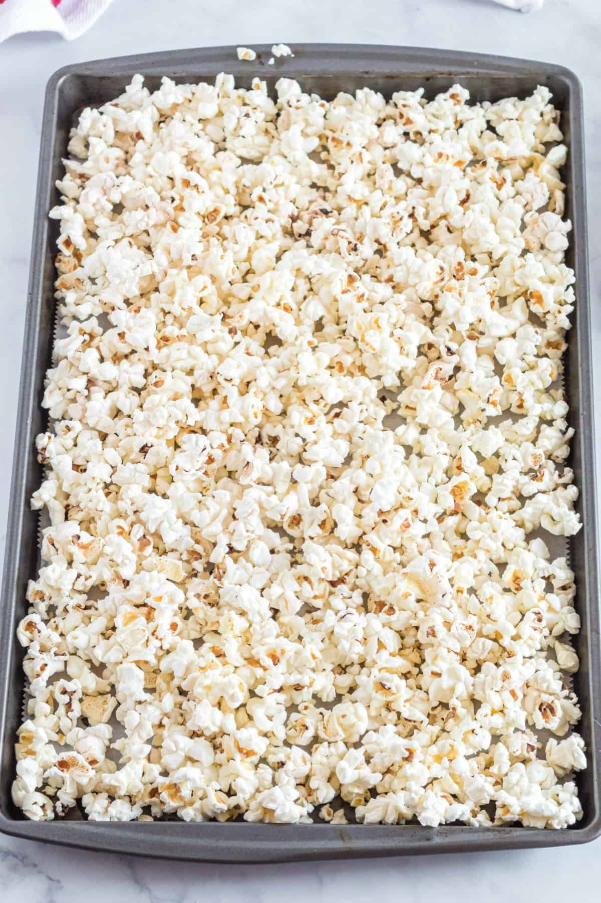 popcorn on a cookie sheet