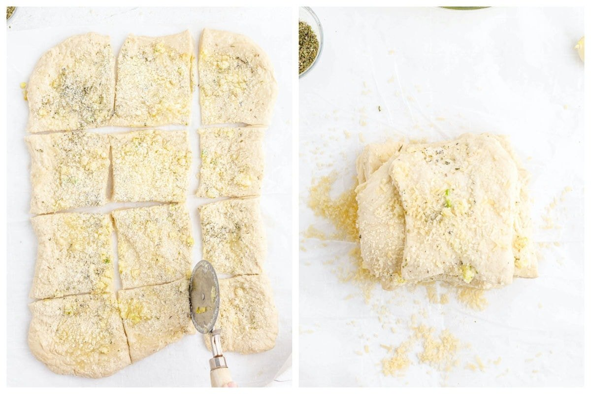 cut the dough into squares