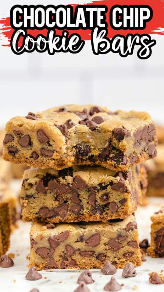 Chocolate Chip Cookie Bars Pinterest Image 2