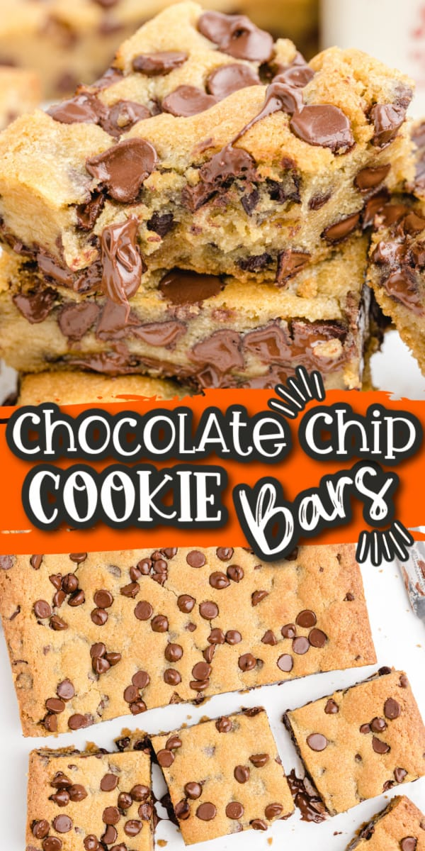 Chocolate Chip Cookie Bars Pinterest Image