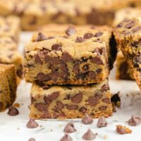 Chocolate Chip Cookie Bars cut