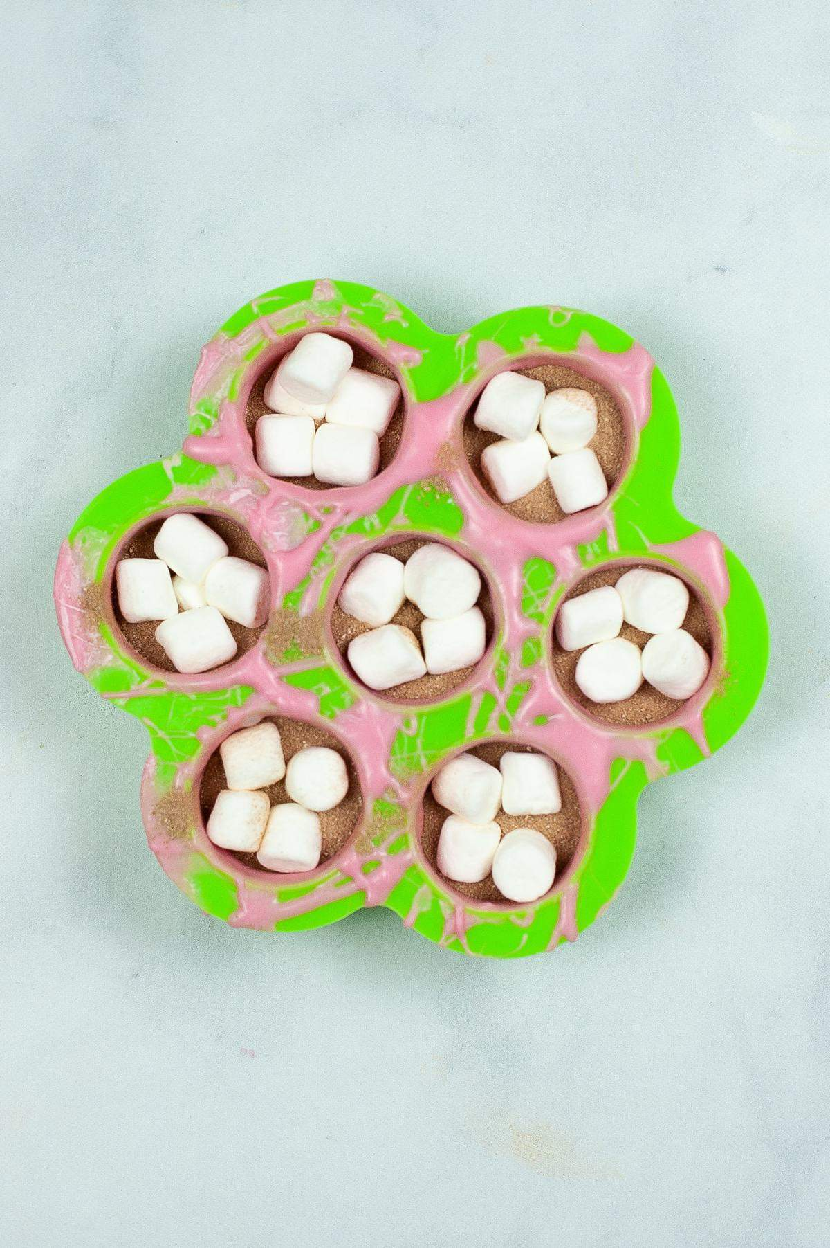 marshmallows on chocolate bomb mold