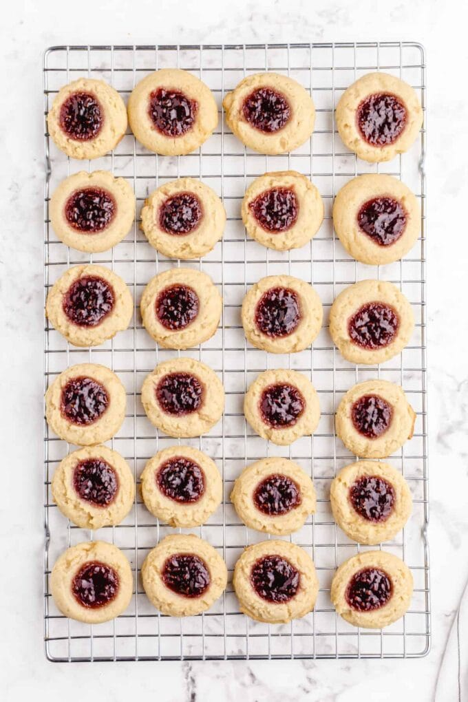 Thumbprint Cookies on a wire rack