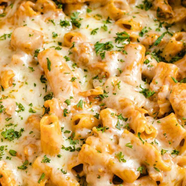 chicken parmesan pasta close up