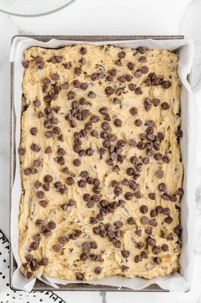 chocolate chip cookie dough with chips on top