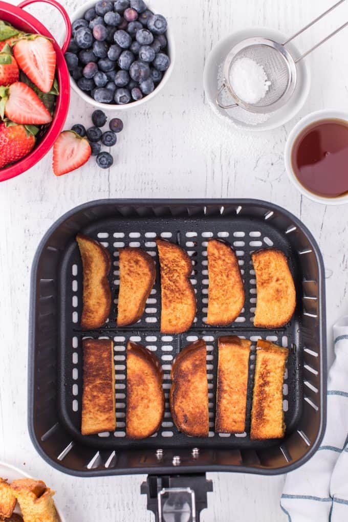 Air Fryer French Toast Sticks cooked in air fryer