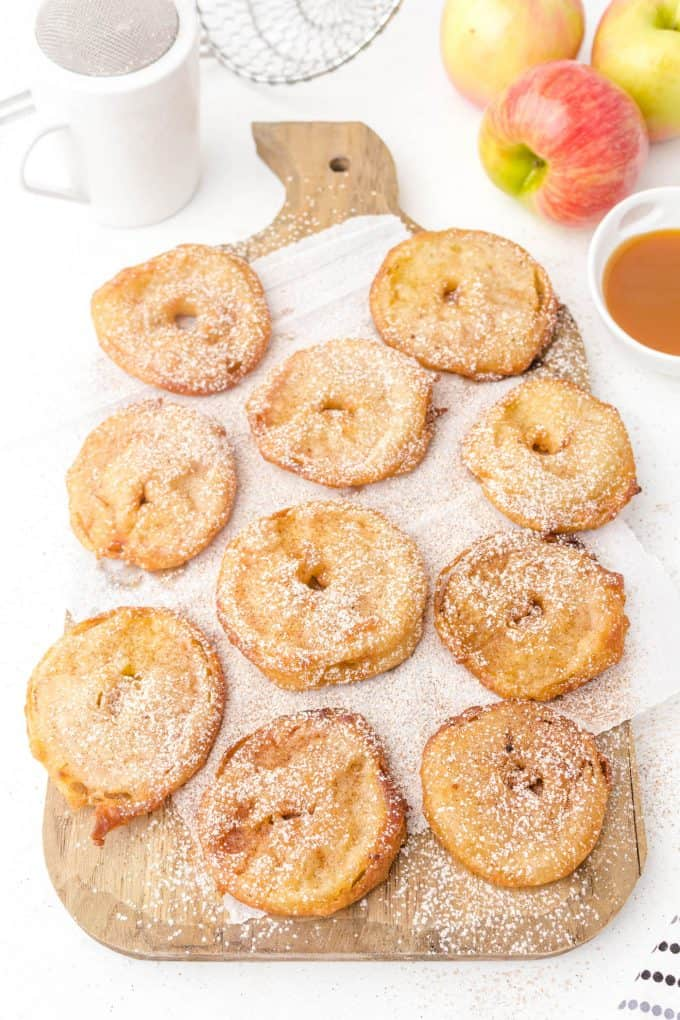 apple fritter rings after frying