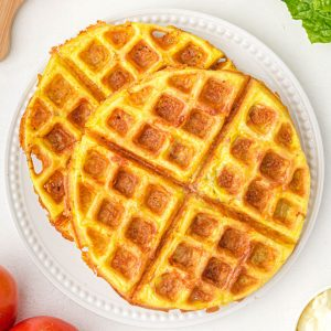Chaffles on a plate square