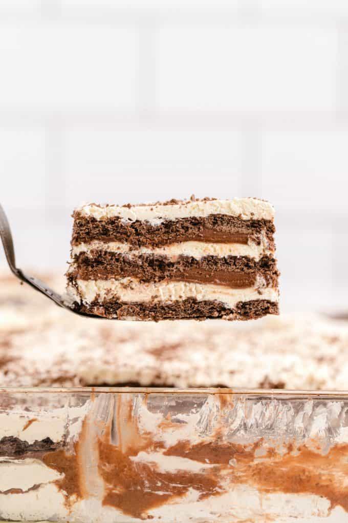 icebox cake on a spatula
