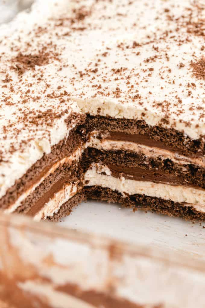 layers of icebox cake in a pan