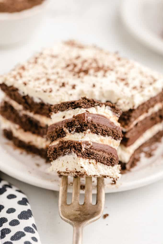 a bite of icebox cake on a fork