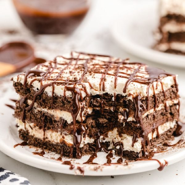 chocolate icebox cake with chocolate drizzle