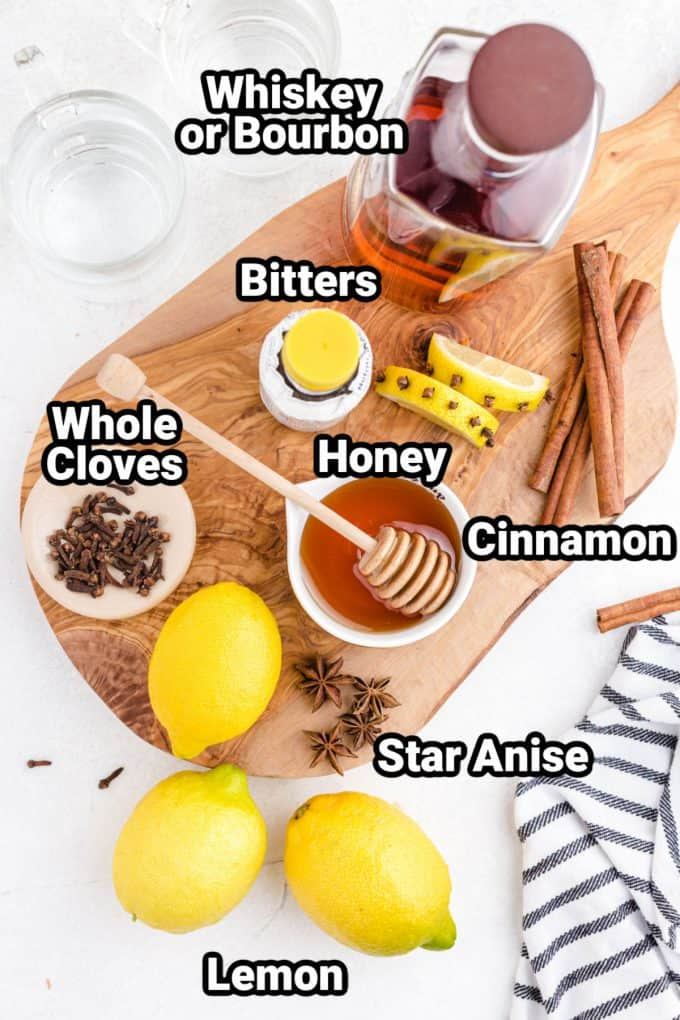 Ingredients for a hot toddy