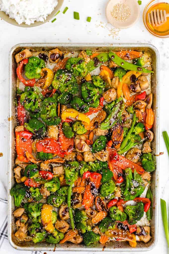 cooked stir fry on a sheet pan