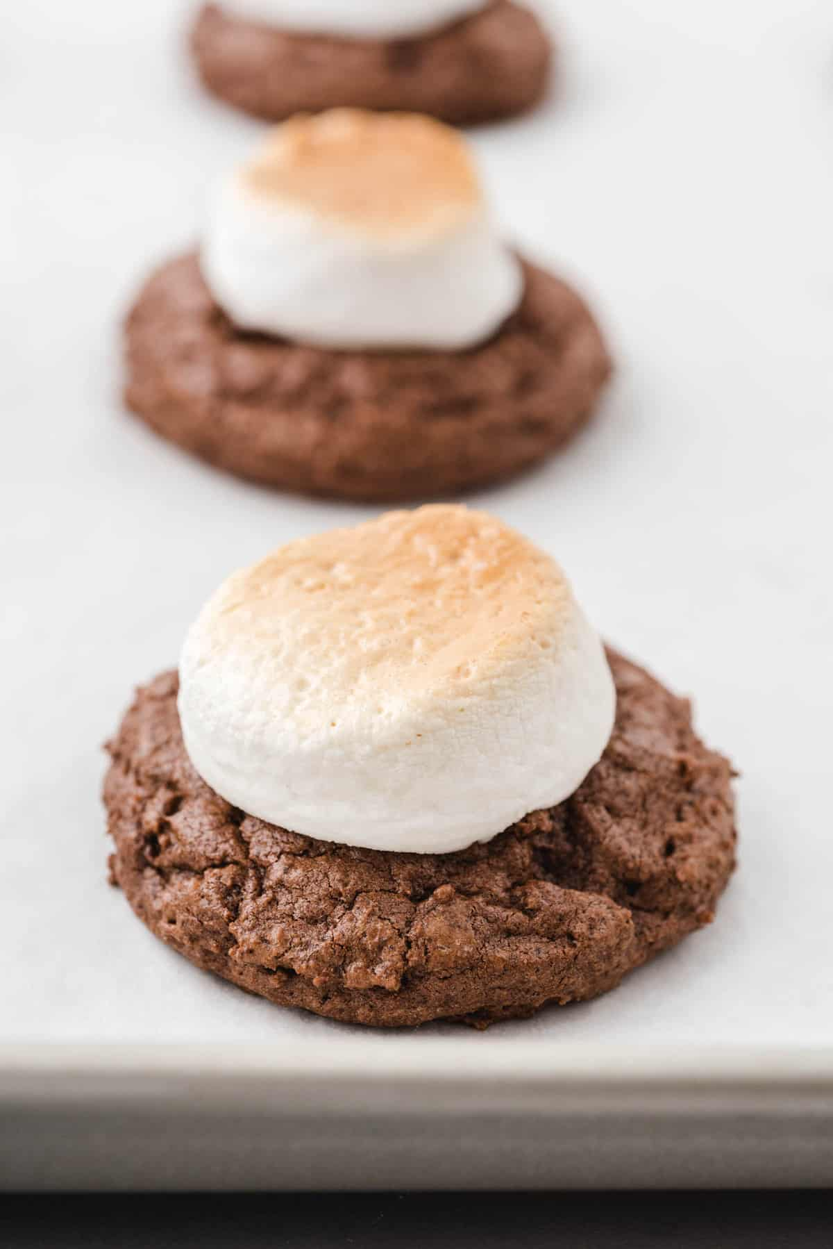 hot chocolate cookies with toasted marshmallow on top