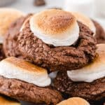 hot chocolate cookies stacked square