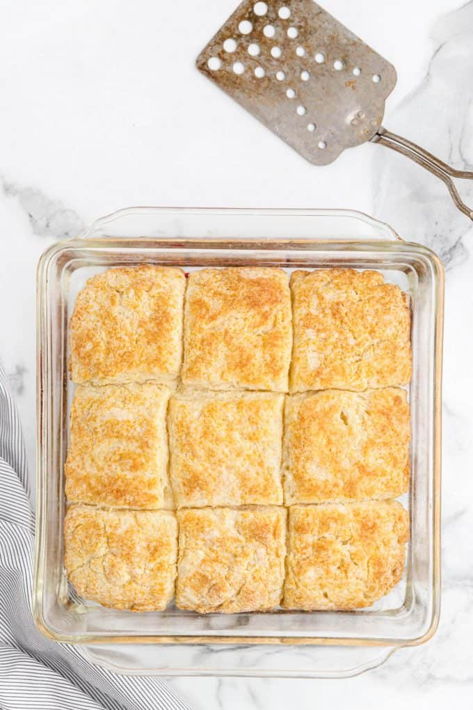 baked 7-Up Biscuits in a glass pan