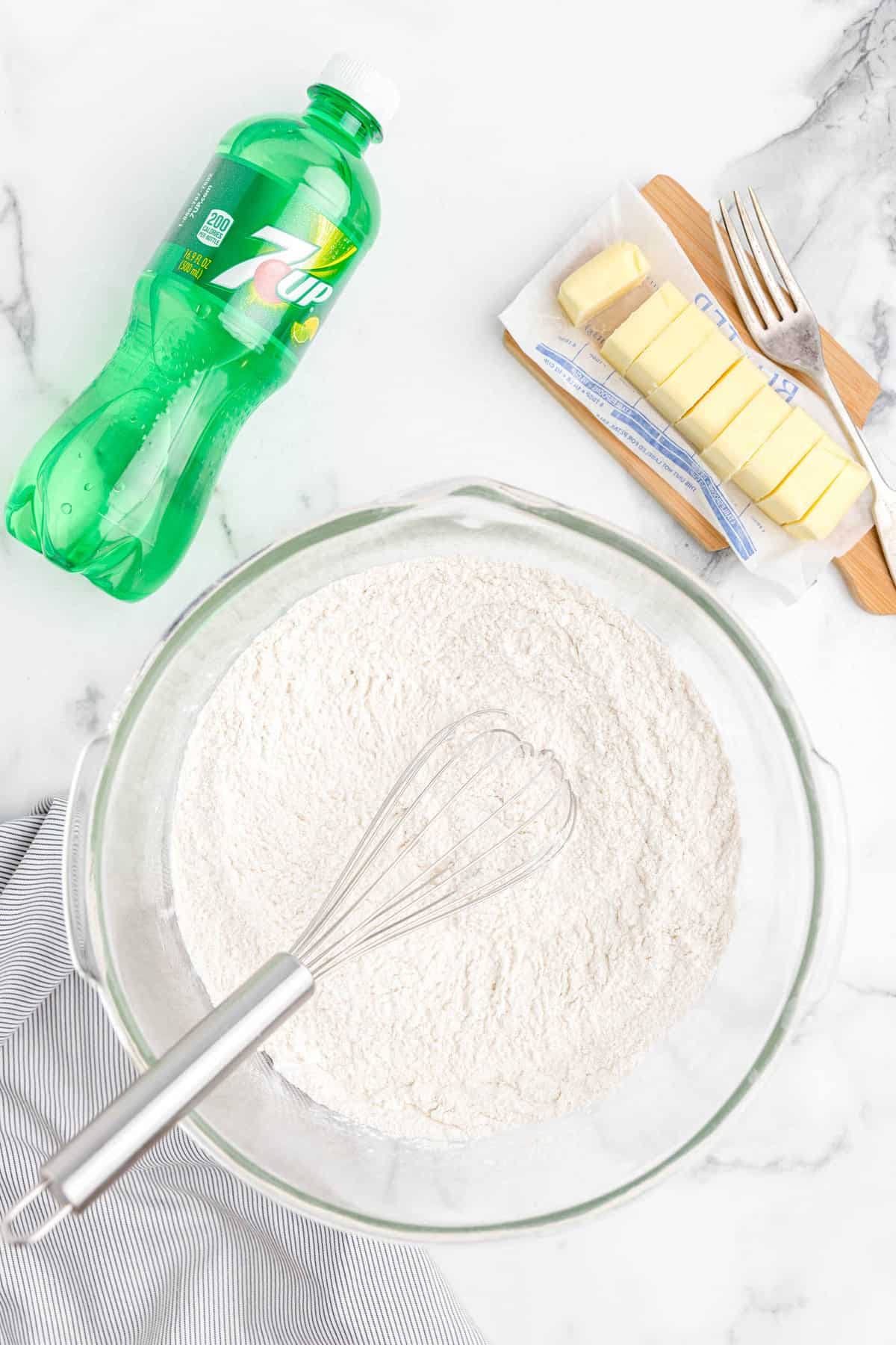 7-Up Biscuits whisk dry ingredients