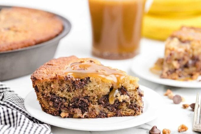 banana bread with caramel sauce