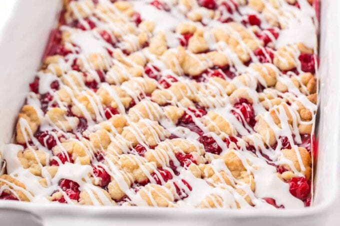 cherry pie bars in a baking pan